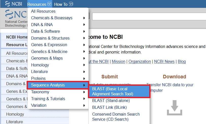 NCBI Resources Menu