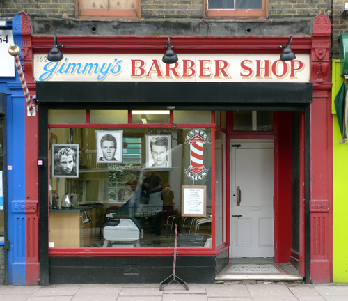 Picture of the front of a barber shop