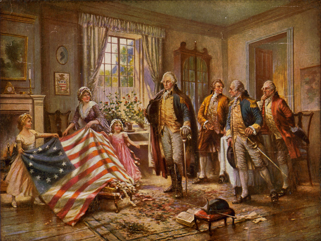 Painting of Betsy Ross presenting American flag to George Washington