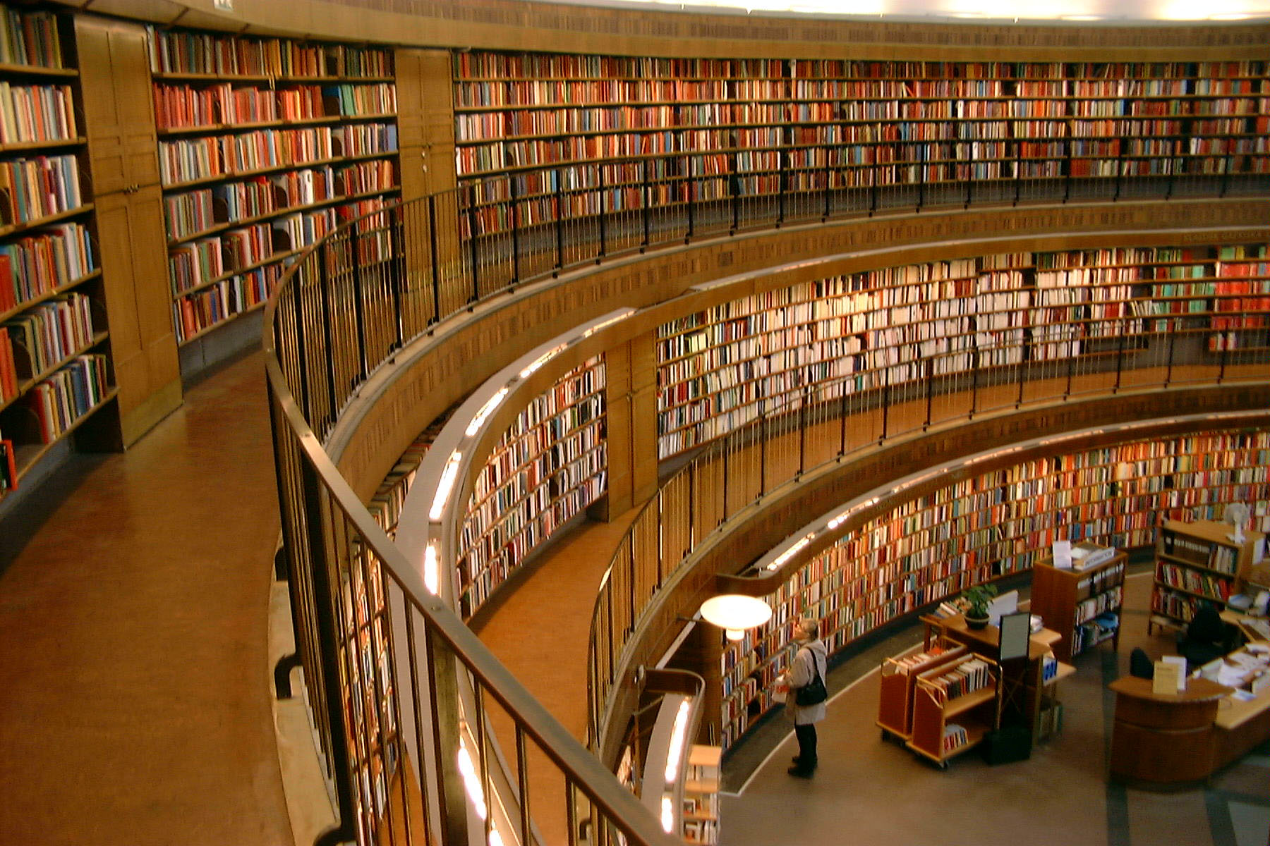 Picture of library books on three floors