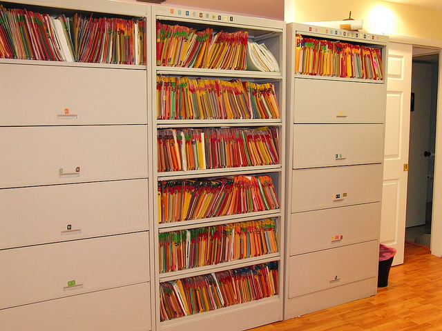 Picture of medical files in a medical office cabinet