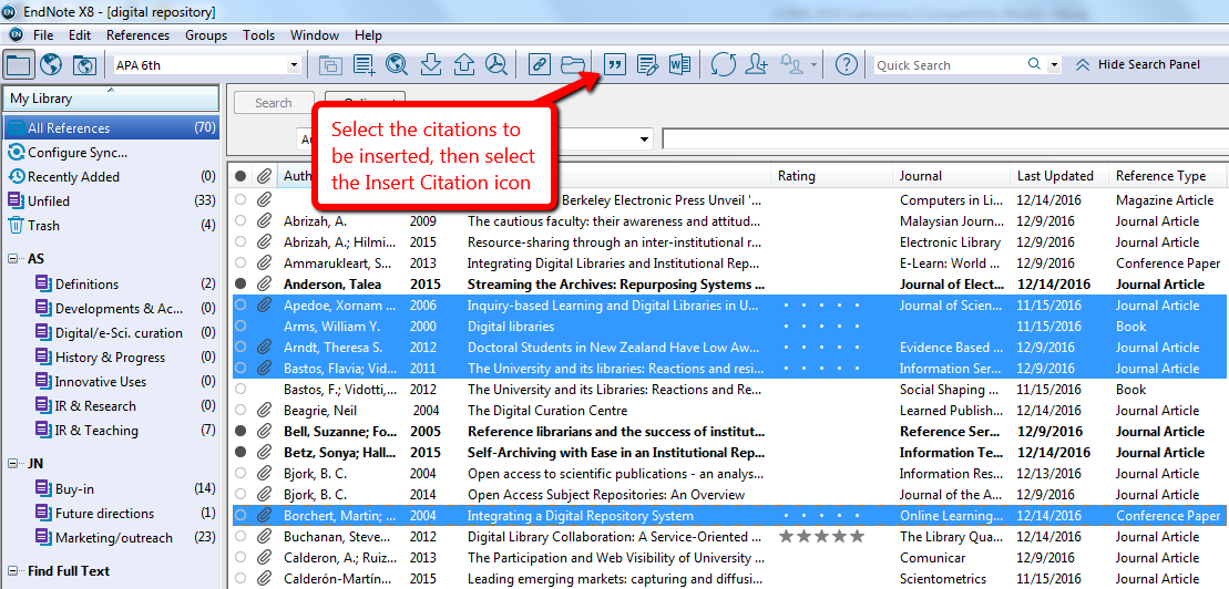 Getting Citations from EndNote to MS Word - EndNote Library