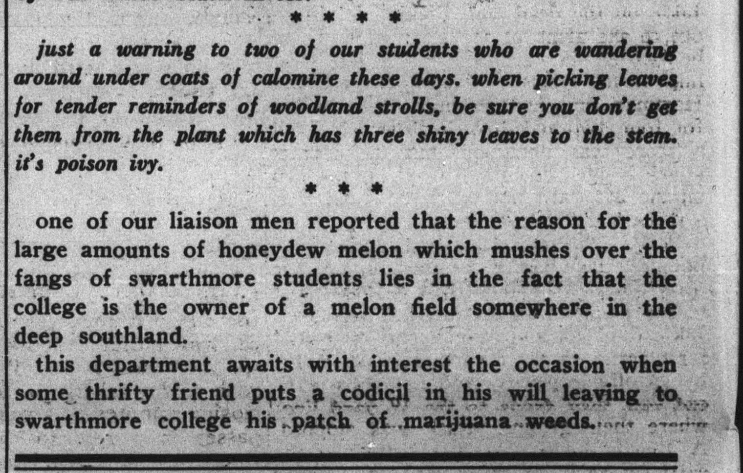 Snippet from Swarthmore College Phoenix article from 1937
