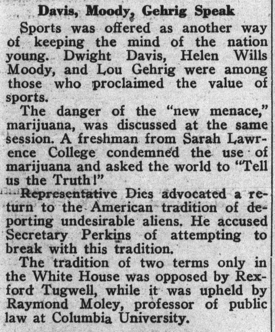 "Swarthmore College Phoenix from 1938; second earliest use of the word ""marijuana"" in the Phoenix"