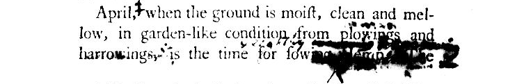 An excerpt from Hemp, by J.B. Bordley, describing the April is the best time for sowing hemp.