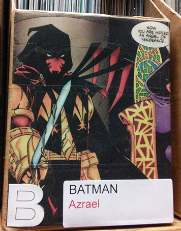 Cover of one of the boxes of Azrael, a Batman comic