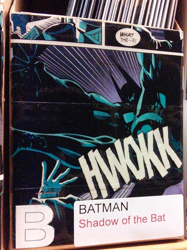 Cover of one of the boxes for Shadow of the Bat, a Batman title