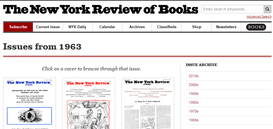 Screenshot of the New York Review of Books Archive Page
