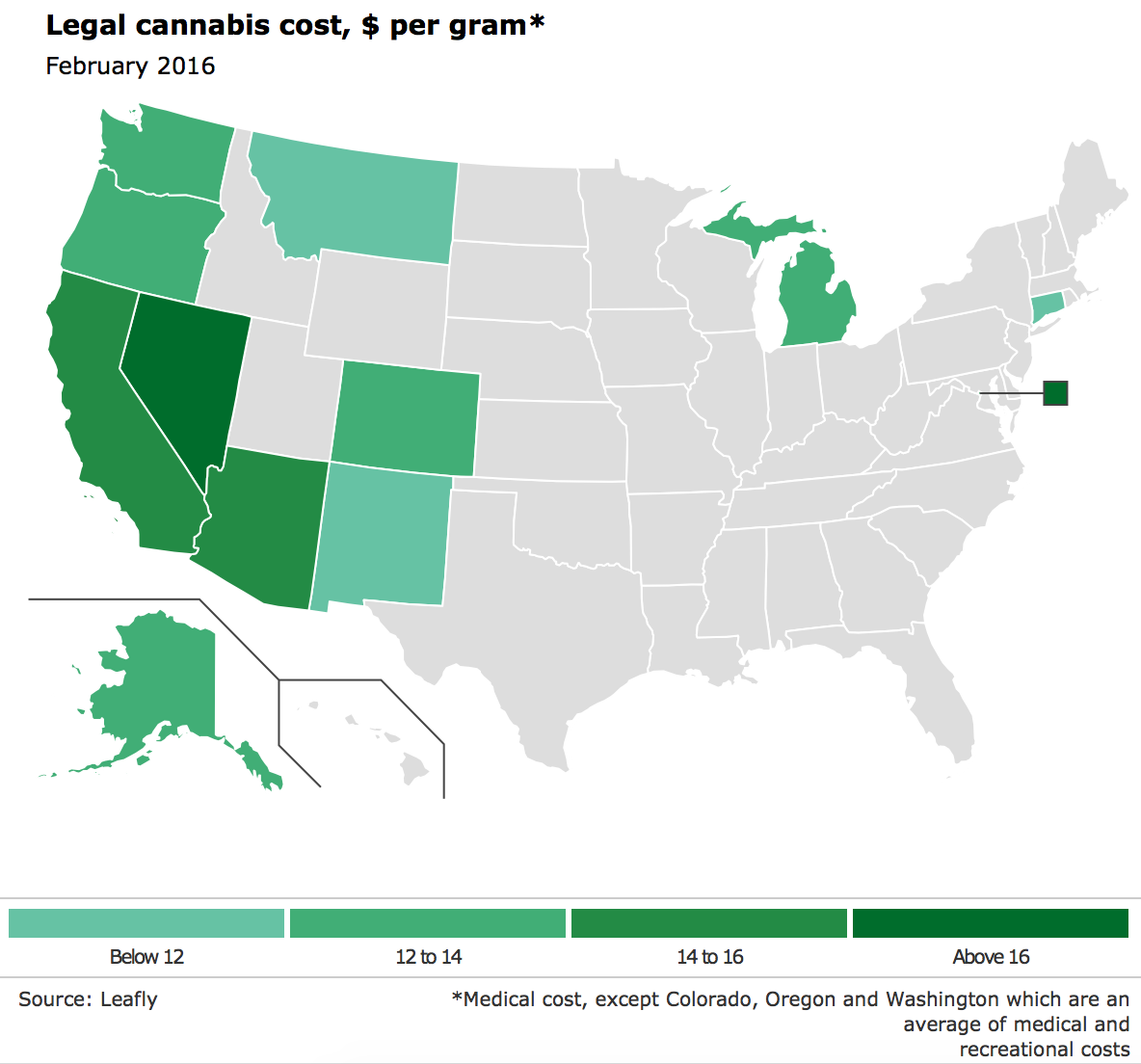 Screenshot of Legal cannabis cost map from the economist