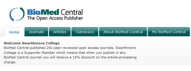 A screenshot of the BioMed Central supporter page for Swarthmore College. It says: BioMed Central publishes 290 peer-reviewed Open Access journals. Swarthmore College is a supporter member which means when you publish in any BioMed Central journal you will receive a 15% discount on the article-processing charge.