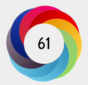 Colorful Altmetric donut with the number 61 in the center