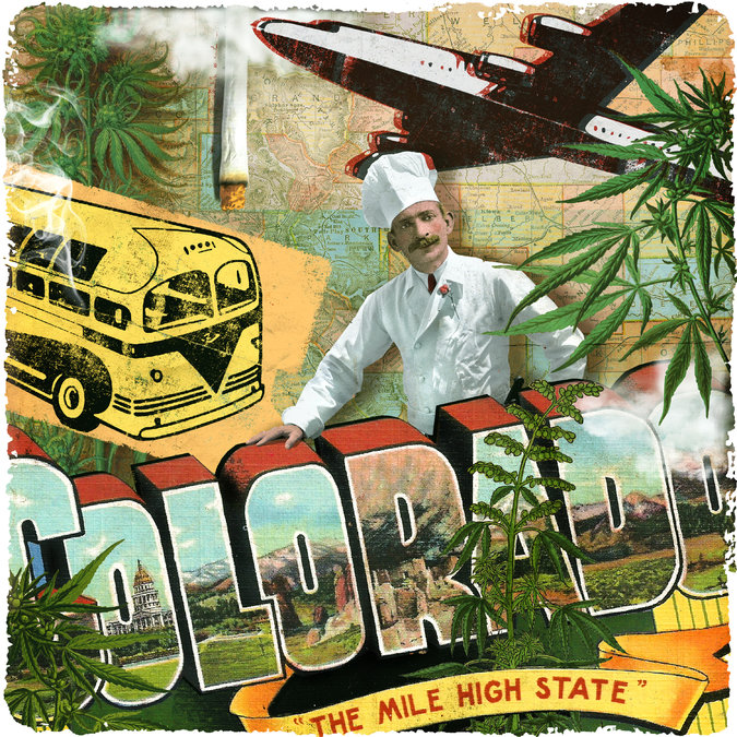 Collage graphic: Colorado, the mile high state. cannabis leaf, smoking, culinary, and airline imagery