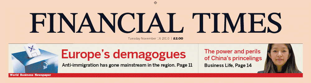 Financial Times headline from November 16, 2010.