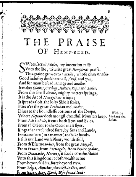 "Screenshot of ""The Praise of Hemp-Seed"" by John Taylor, 1623."
