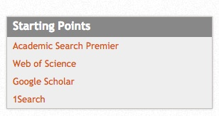 Screenshot of the Starting Points list on the library Databases Page. Academic Search Premier is at the top of the list