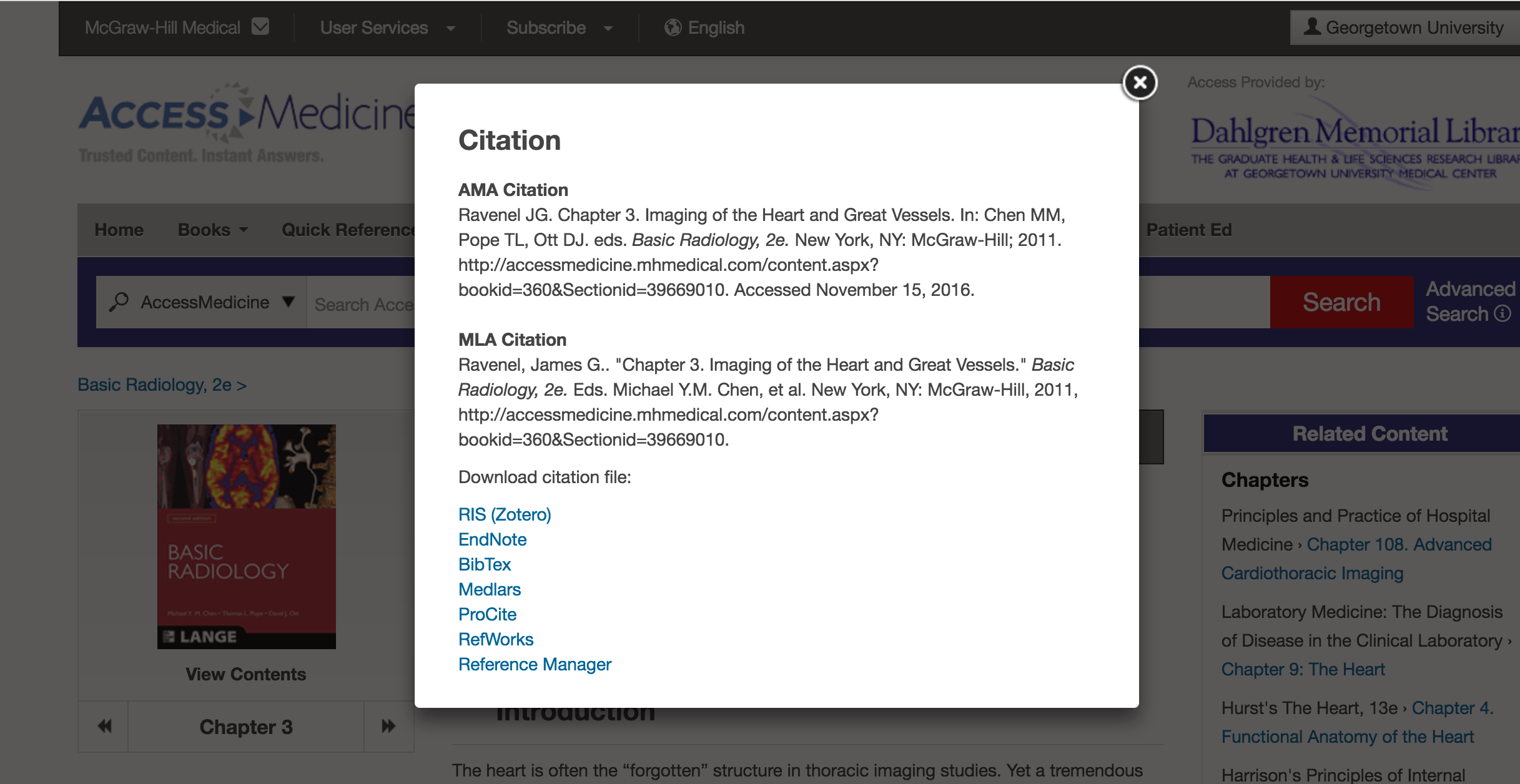 "Select ""Get Citation"" to see the citation available to you"