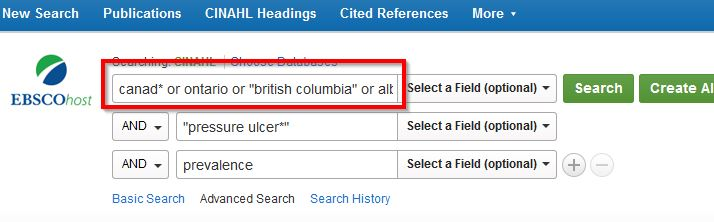 Search Screen in CINAHL with Canada keywords