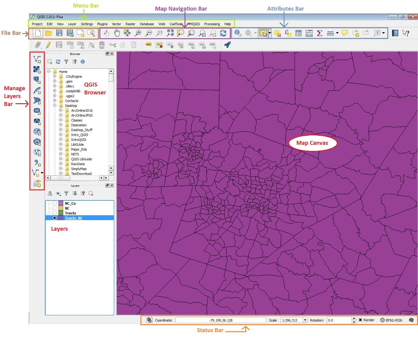 Opening QGIS and Screen Layout - QGIS - LibGuides at Duke