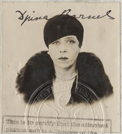 Passport photograph of Djuna Barnes, from her United States passport, issued at Washington, DC, on March 8, 1929.