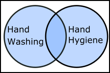 venn diagram - union of two sets with search terms 'hand washing' and 'hand hygiene'