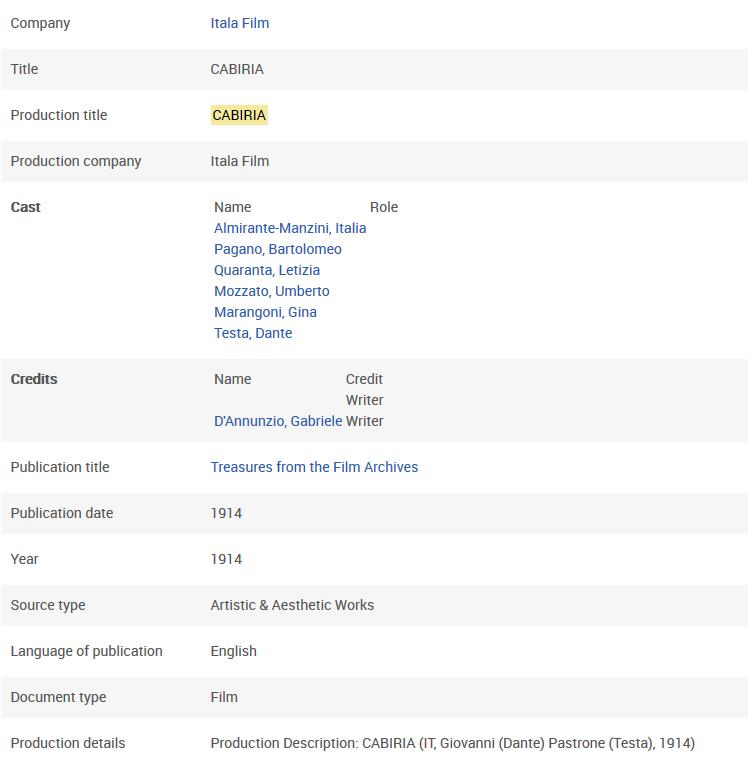 Sample Content - FIAF International Index to Film