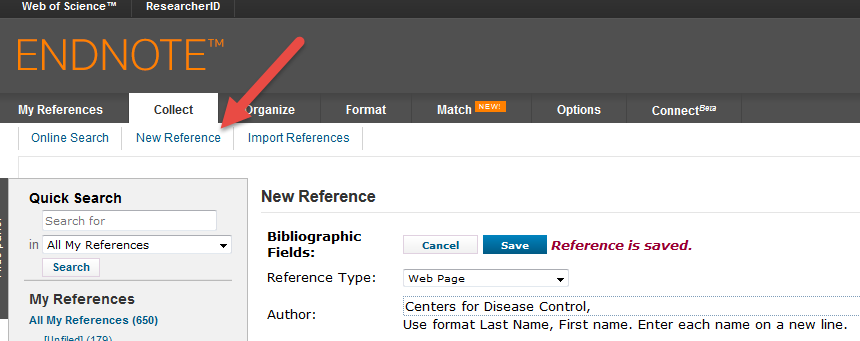 Endnote online endnote libguides at wake forest school of medicine a reference manually website book chapter etc go to the collect tab choose new reference pick the reference type from the drop down menu and fill ccuart Image collections