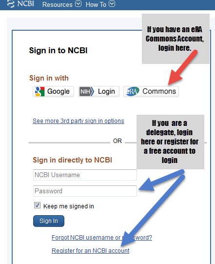 Image of the NCBI screen that illustrates to login at eRA Commons if you already have an account there or to sign in to NCBI if you are a delegate.