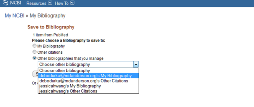 """Image of the selection of """"other bibliographies that you manage"""""""