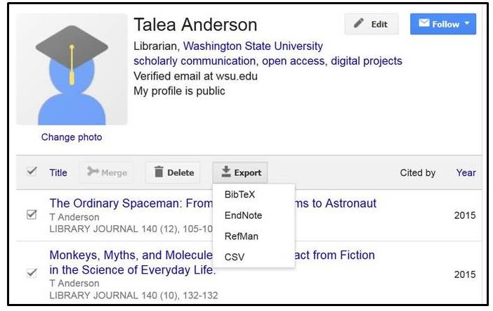 Sample Google Scholar profile showing citation export options