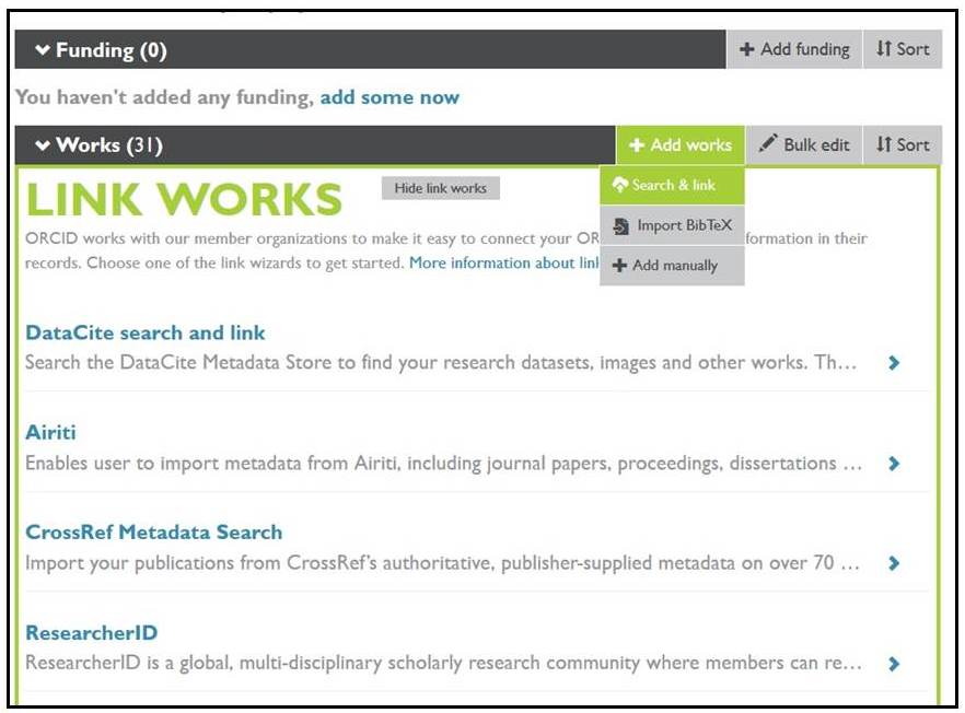 Sample ORCID profile showing options for linking works