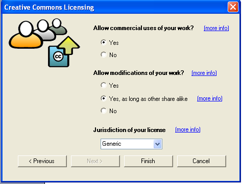 screenshot of Creative Commons licensing wizard