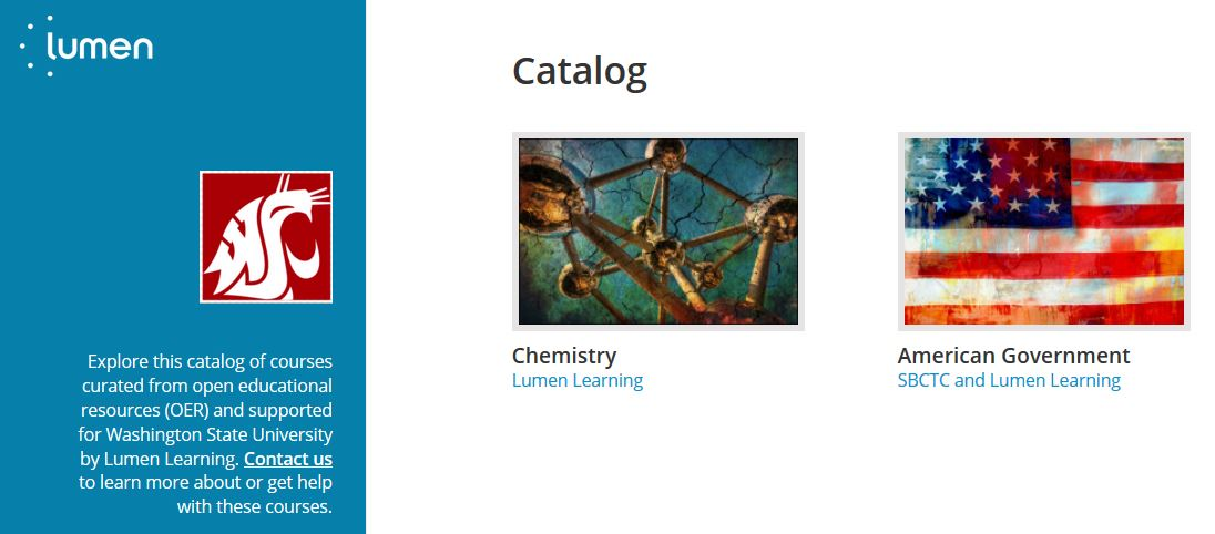 Screenshot showing the WSU catalog created by Lumen Learning