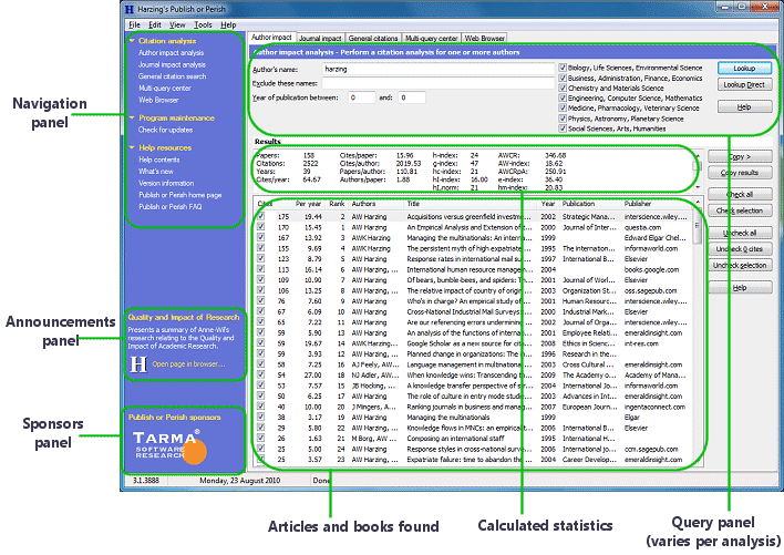 Publish or Perish display showing how citations appear in the software