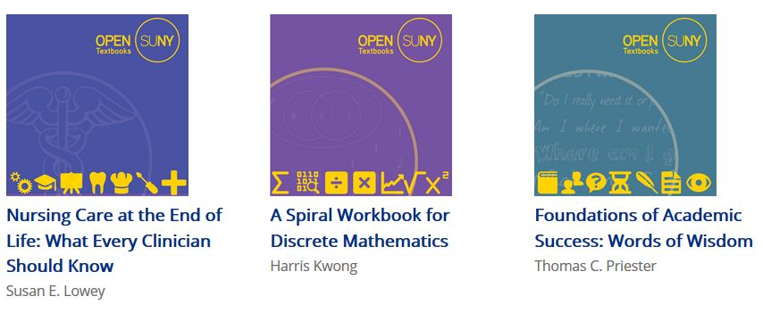 Screenshot shows a sampling of Open SUNY textbooks