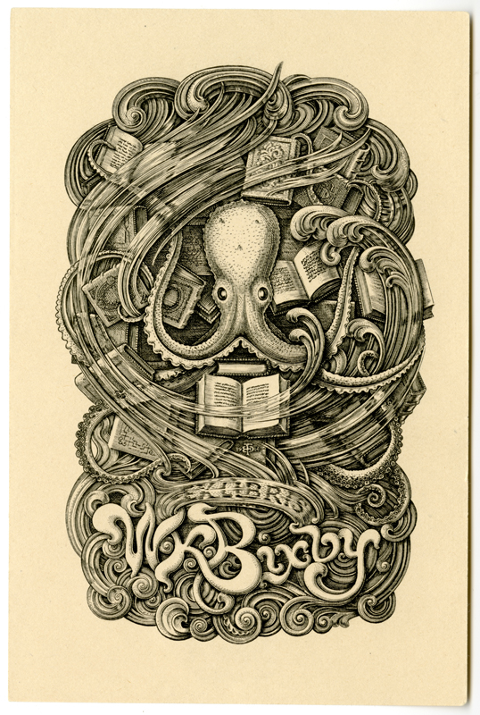 Bookplate of W.K. Bixby by E.D. French, 1906.