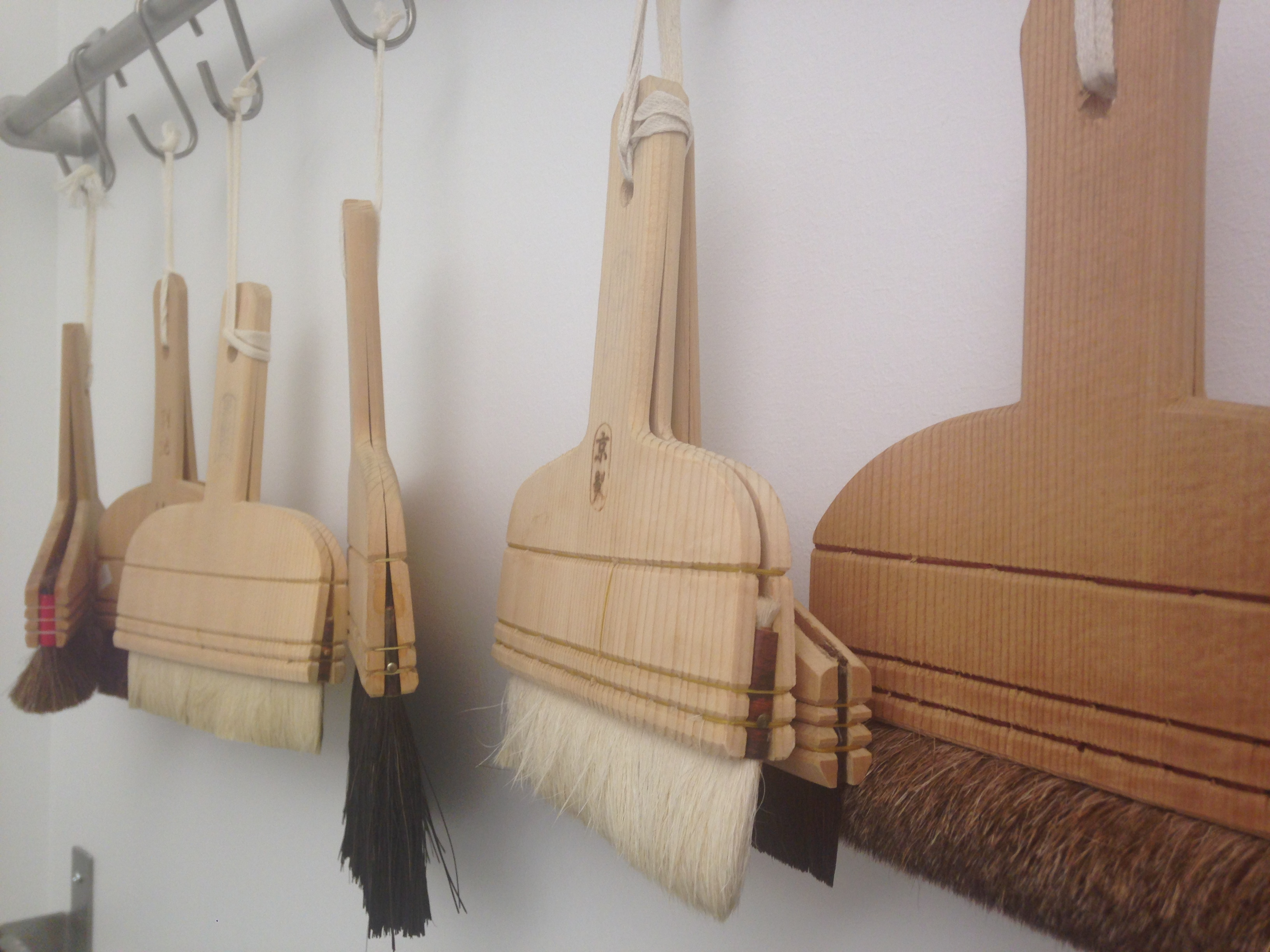 Japanese paste brushes hanging to dry