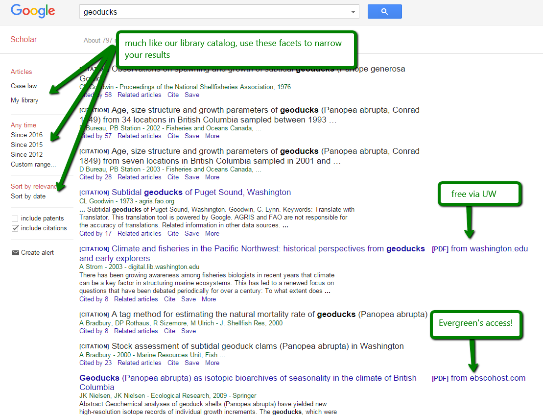 google scholar results screen