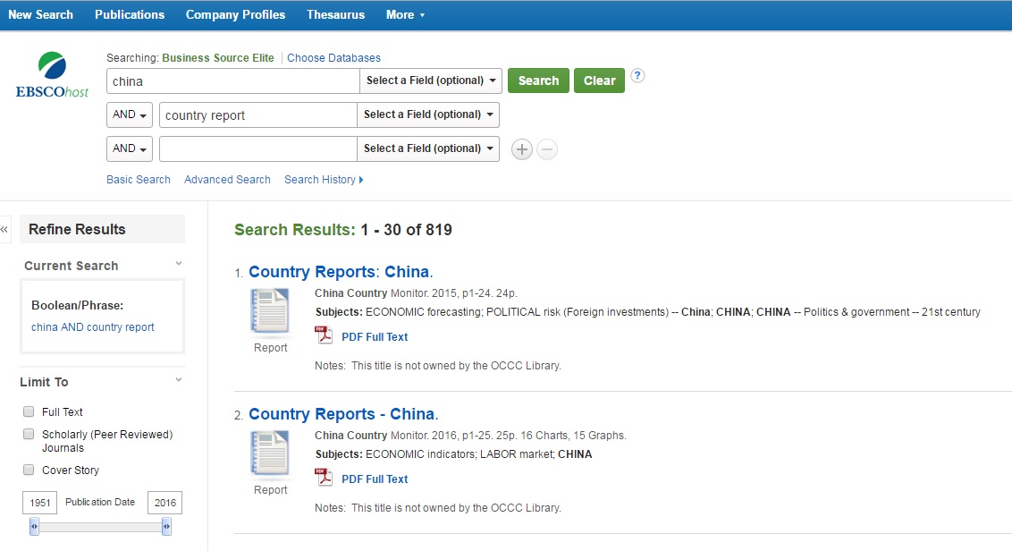 EBSCOhost China and Country results page