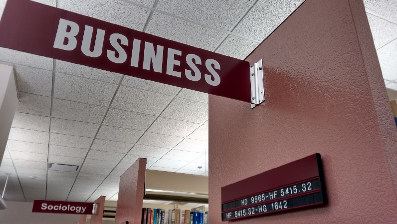 Business area sign in the Library