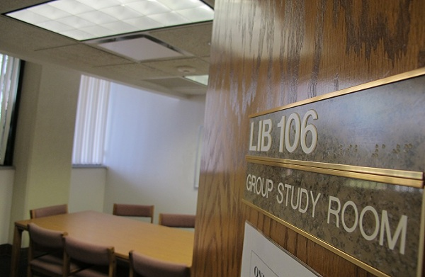 Image of a study room in the Library