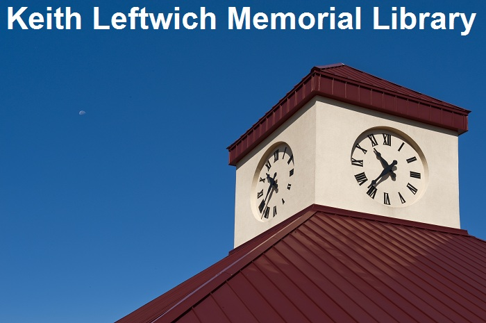 Image of clock tower with library name