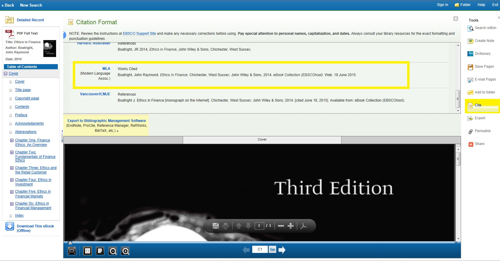 Image of citation generator in EBSCO eBooks