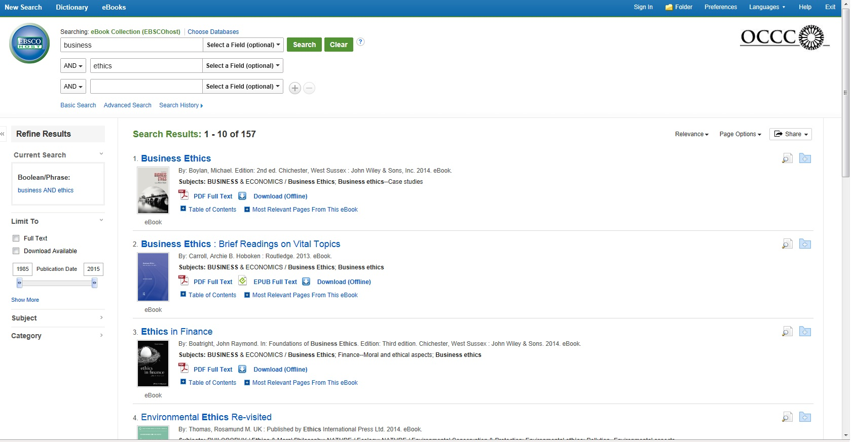 Image of a search in EBSCO eBooks