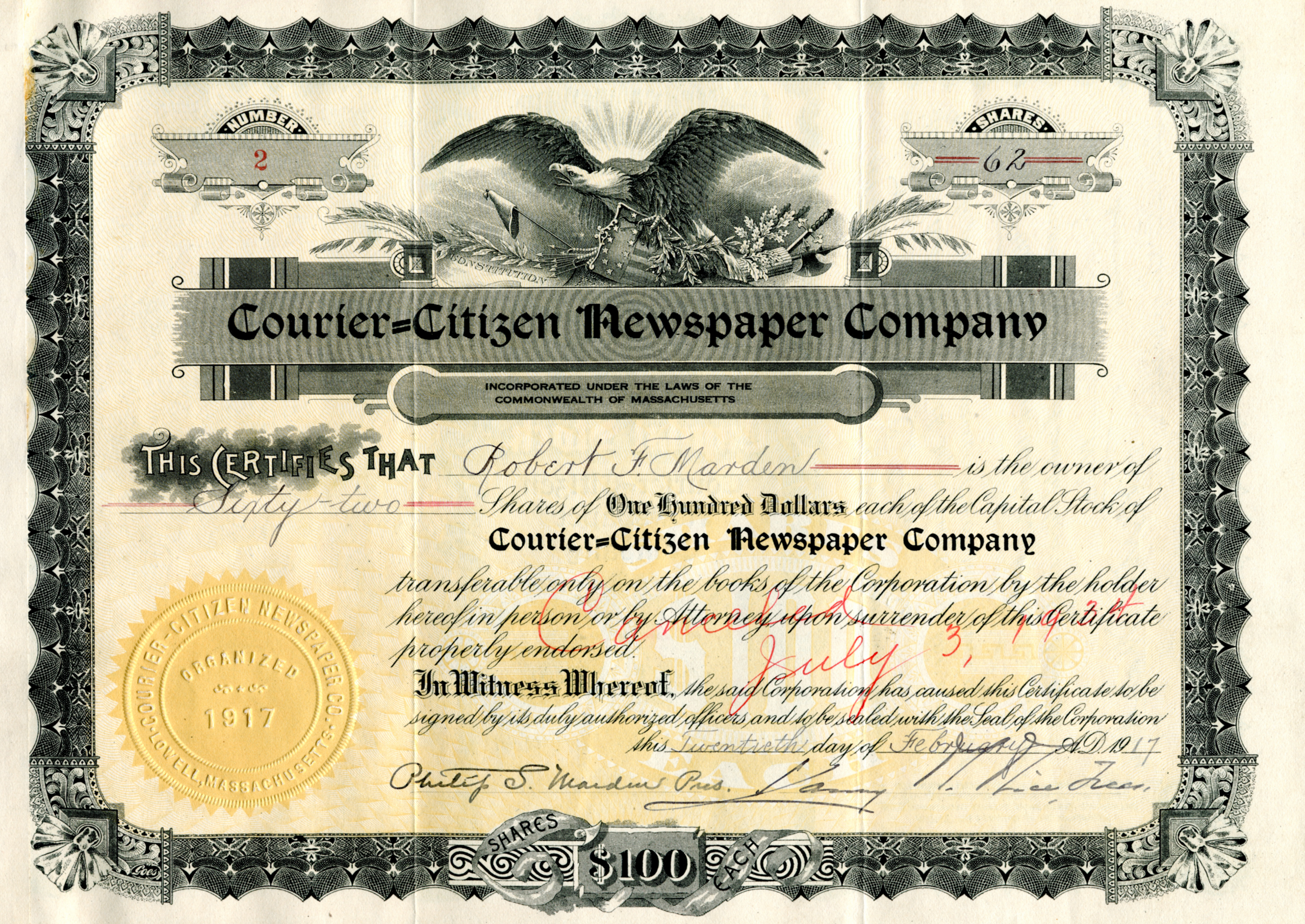 Stock Certificates Courier Corporation Archives Libguides At