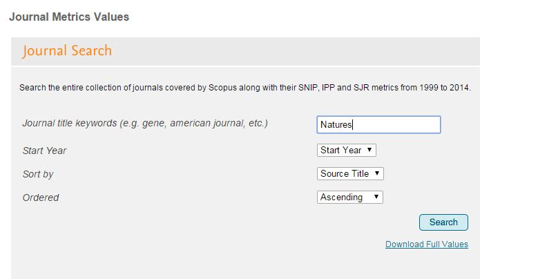Journal Metrics Values Interface - Search for a Journal to Publish in