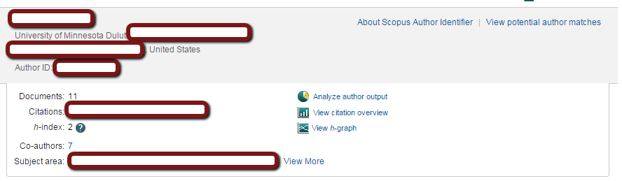 Scopus Author Profile View
