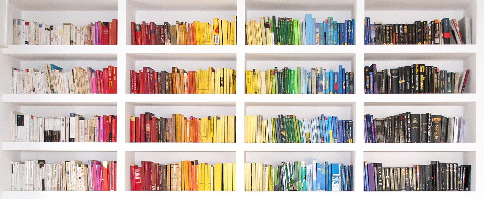 A picture of books spine on book shelves, group together by colour.
