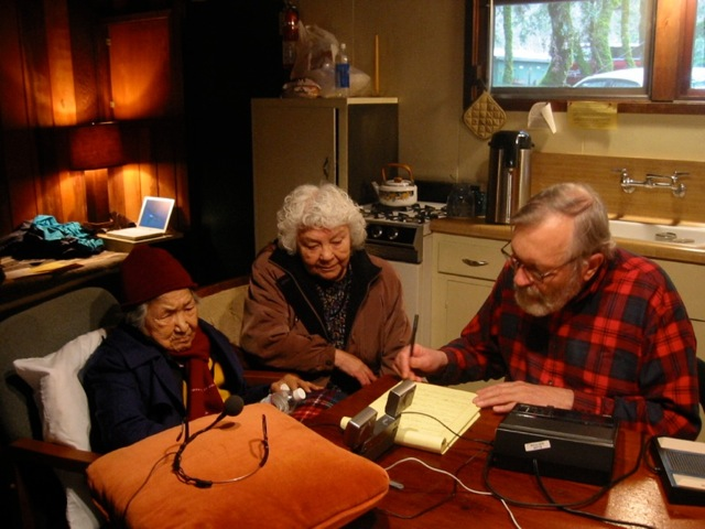 Koo Violet Super, Vina Smith, and William Bright recording and transcribing Karuk Language