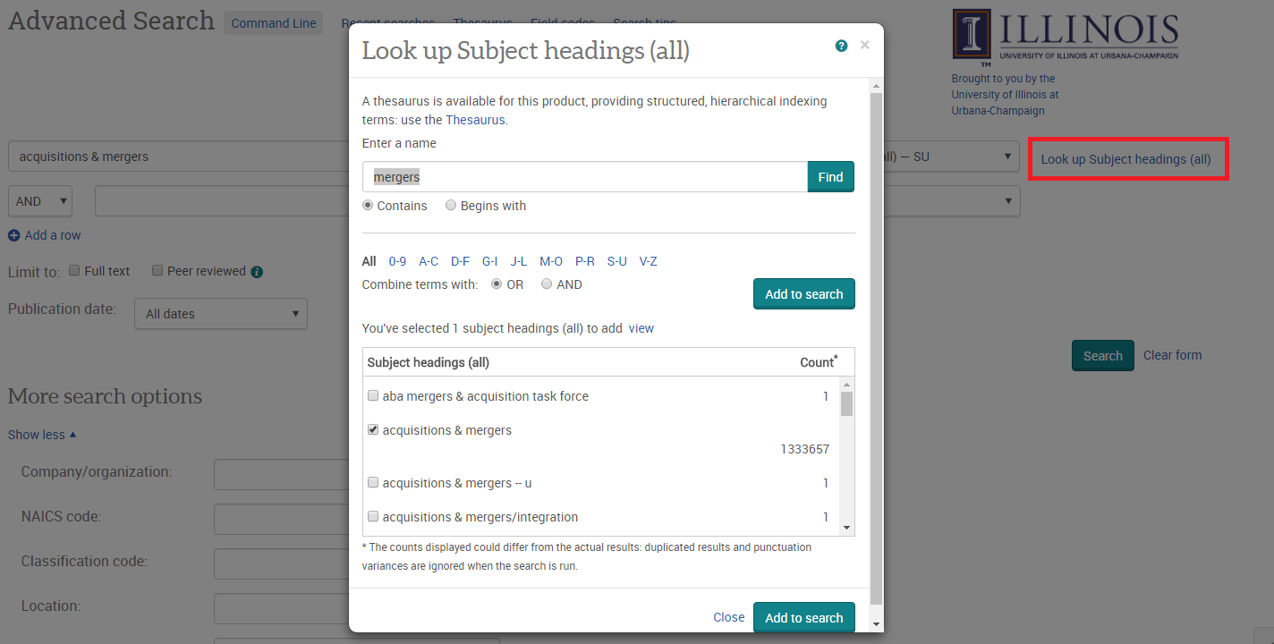 Advanced subject heading search in ABI/Inform