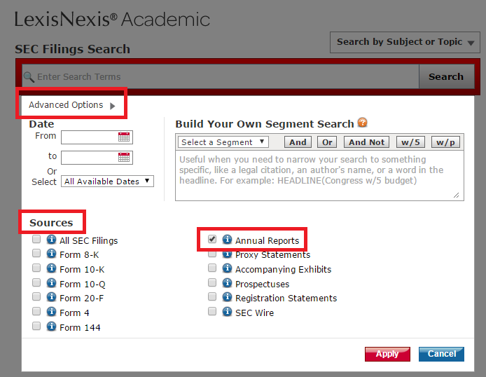 LexisNexis Advanced Options